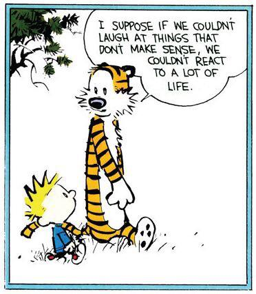 I suppose if we couldn't laugh at things that don't make sense, we couldn't react to a lot of life.